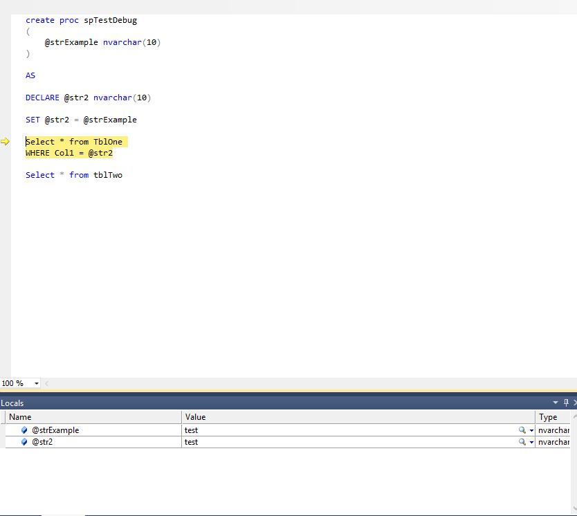 debug in sql server