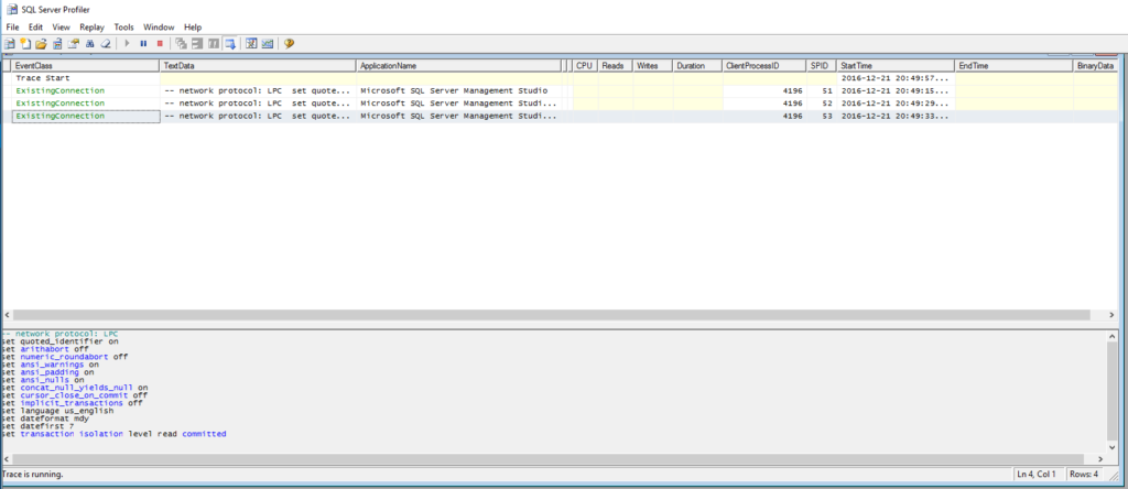 Using the SQL Profiler to debug in sql server