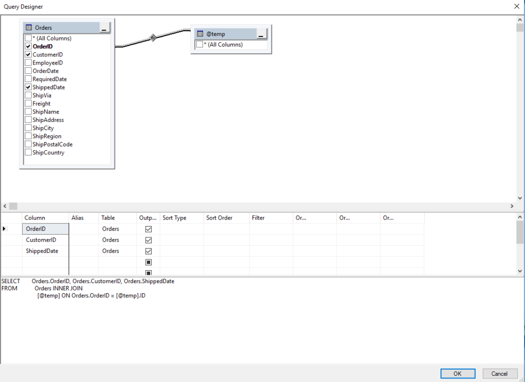 How to use the Query Designer with a temporary Table
