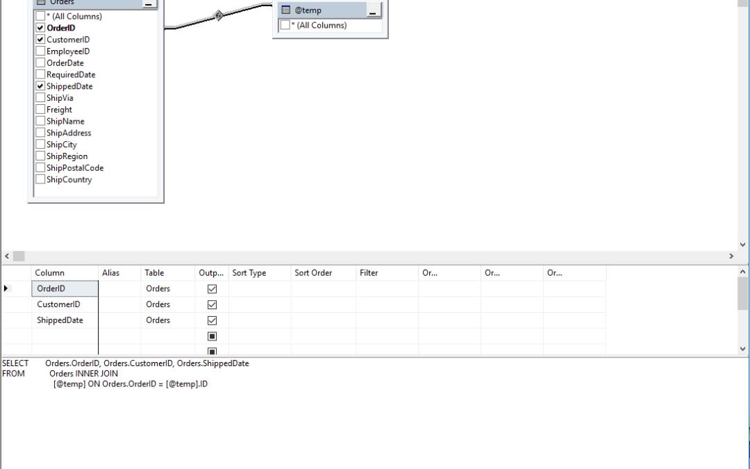 Temp Table Query Designer SQL