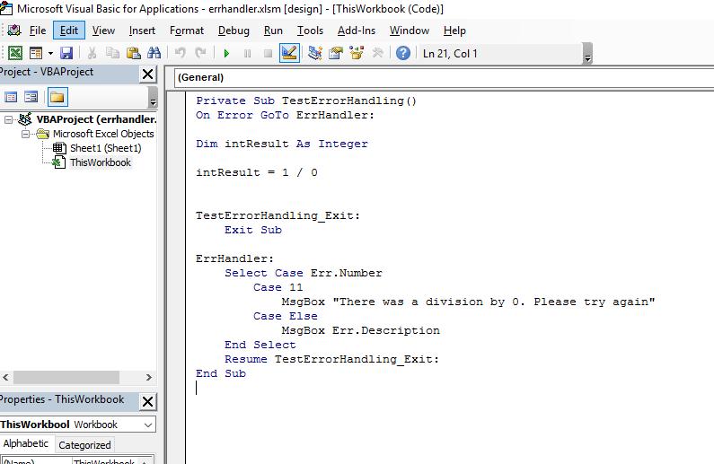 Error Handling In Excel