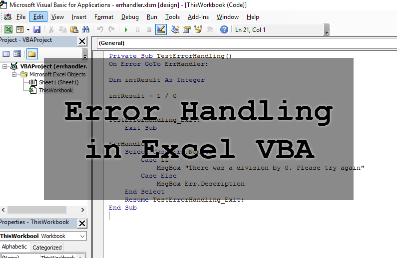Error Handling in Excel and VBA